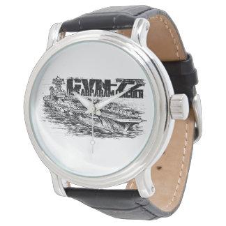 Cuero negro del vintage de CVN-72 Abraham Lincoln Reloj De Mano