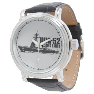 Cuero negro del vintage de DDG-52 Barry Relojes De Mano