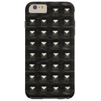 Cuero negro tachonado funda para iPhone 6 plus tough