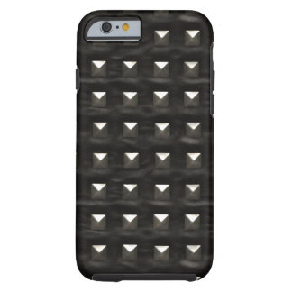 Cuero negro tachonado funda para iPhone 6 tough