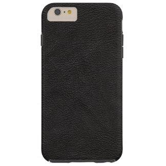 Cuero negro texturizado funda resistente iPhone 6 plus