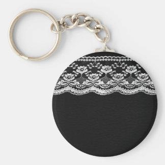 Cuero negro y blanco y cordón llavero personalizado