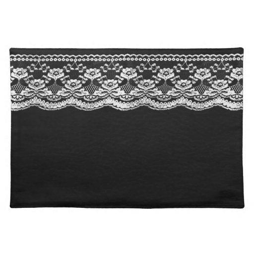 Cuero negro y blanco y cordón mantel