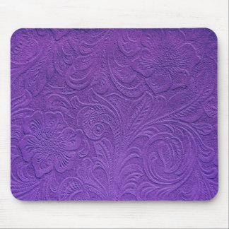 Cuero púrpura - diseño floral grabado en relieve tapete de raton