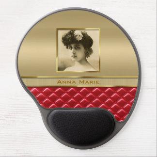 Cuero rojo acolchado oro de encargo del marco de alfombrillas de ratón con gel