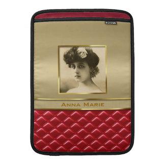 Cuero rojo acolchado oro de encargo del marco de fundas MacBook