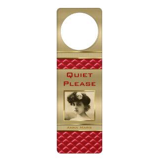Cuero rojo acolchado oro de encargo del marco de l colgadores para puertas