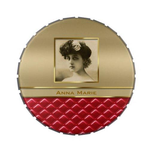Cuero rojo acolchado oro de encargo del marco de l jarrones de caramelos