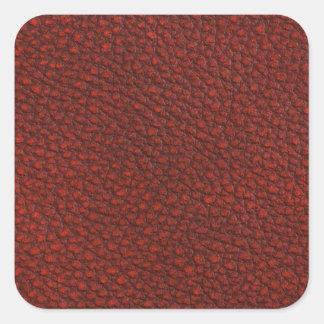 Cuero rojo pegatina cuadrada