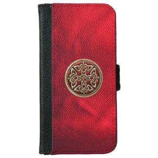 Cuero rojo y caja céltica de la cartera del iPhone Funda Cartera Para iPhone 6