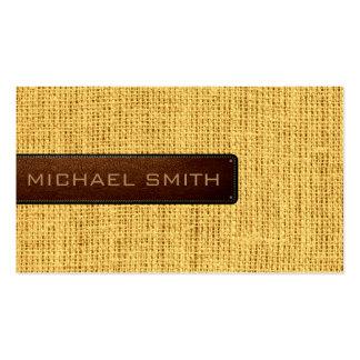 Cuero rústico de lino de la mirada del yute de la tarjetas de visita