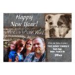 Cuero rústico de saludo de la Feliz Año Nuevo 2 fo Invitaciones Personalizada