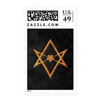 Cuero Unicursal de oro del negro del Hexagram de Envio