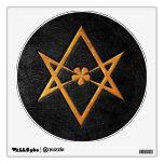 Cuero Unicursal de oro del negro del Hexagram de T