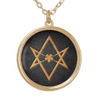 Cuero Unicursal de oro del negro del Hexagram de T Colgante Redondo