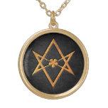 Cuero Unicursal de oro del negro del Hexagram de T Collar