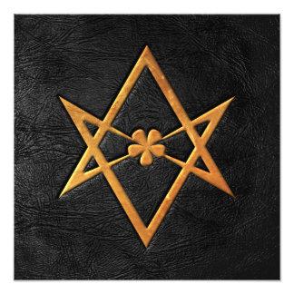 Cuero Unicursal de oro del negro del Hexagram de T Foto