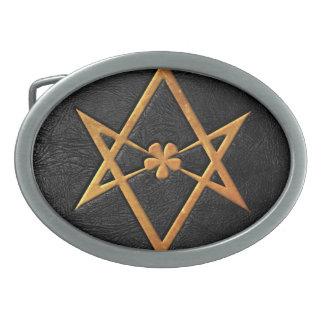 Cuero Unicursal de oro del negro del Hexagram de T Hebillas De Cinturón Ovales