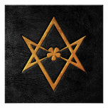 Cuero Unicursal de oro del negro del Hexagram de T Poster
