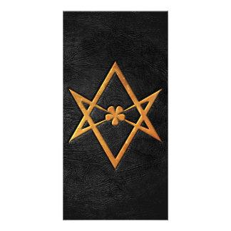 Cuero Unicursal de oro del negro del Hexagram de T Tarjeta Con Foto Personalizada