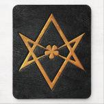 Cuero Unicursal de oro del negro del Hexagram de Alfombrilla De Ratón