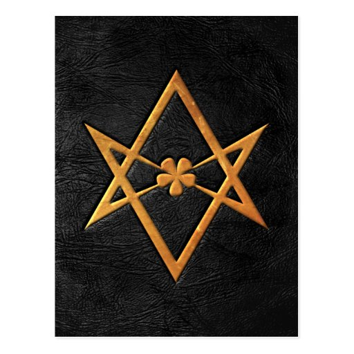 Cuero Unicursal de oro del negro del Hexagram de Postal