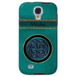Cuero verde del monograma con el nudo céltico
