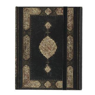 Cuero viejo y cubierta de libro fina del oro del
