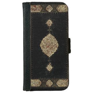 Cuero viejo y cubierta de libro fina del oro del funda cartera para iPhone 6