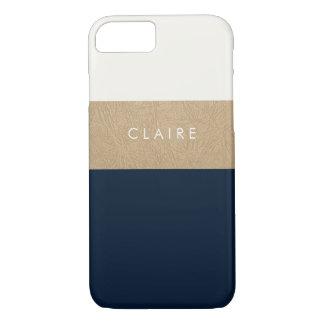 Cuero y azules marinos del oro funda iPhone 7