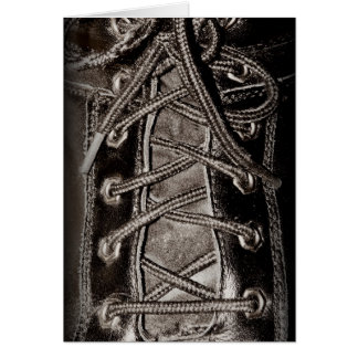 Cuero y cordones negros tarjeta de felicitación