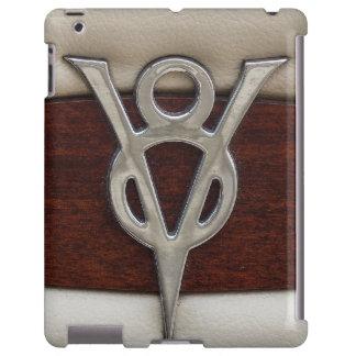 Cuero y madera del emblema del cromo de V8 Funda Para iPad