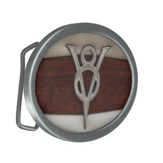 Cuero y madera del emblema del cromo de V8 Hebilla Cinturon Oval