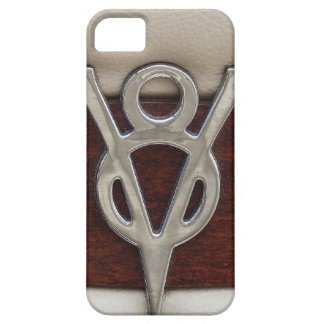 Cuero y madera del emblema del cromo de V8 iPhone 5 Carcasas