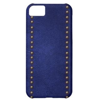 Cuero y tachuelas azules funda para iPhone 5C