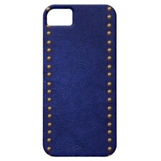 Cuero y tachuelas azules iPhone 5 carcasas