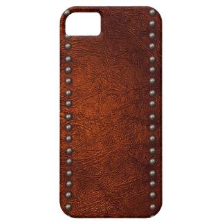 Cuero y tachuelas de Brown iPhone 5 Carcasa