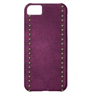 Cuero y tachuelas púrpuras funda para iPhone 5C