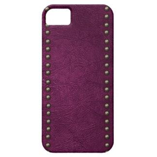 Cuero y tachuelas púrpuras iPhone 5 fundas