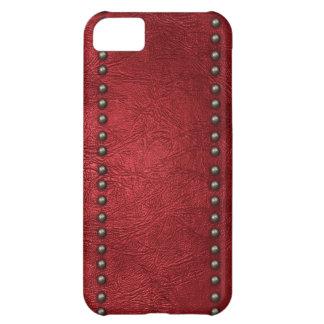 Cuero y tachuelas rojos funda para iPhone 5C