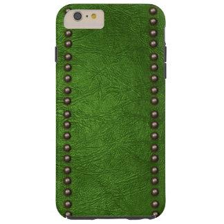 Cuero y tachuelas verdes funda para iPhone 6 plus tough