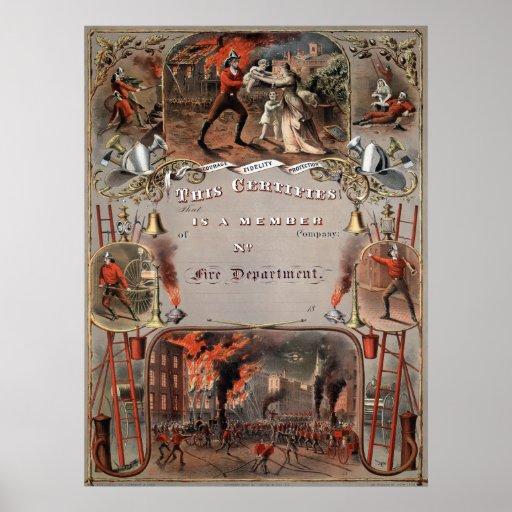 Cuerpo de bomberos del vintage del certificado del póster