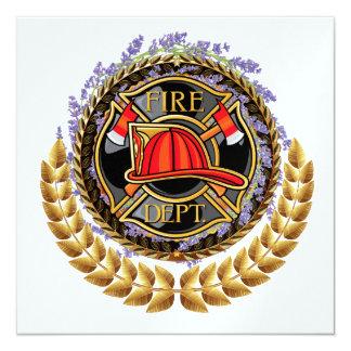 """Cuerpo de bomberos elegante invitación 5.25"""" x 5.25"""""""