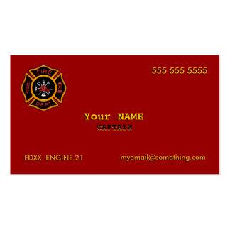 Cuerpo de bomberos tarjeta de visita