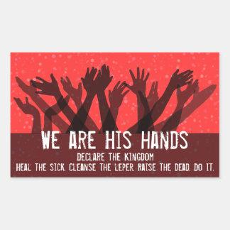 Cuerpo de Christ Hands Faith Kingdom de God Jesus Rectangular Pegatina
