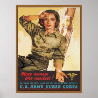 Cuerpo de enfermera del ejército del vintage WW2 Póster