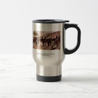 Cuerpo de la artillería a caballo en un Dorfstrass Tazas De Café