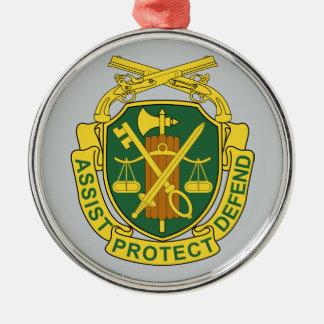 Cuerpo de la policía militar del ejército adorno redondo plateado