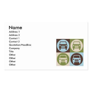 Cuerpo del auto del arte pop tarjetas de visita