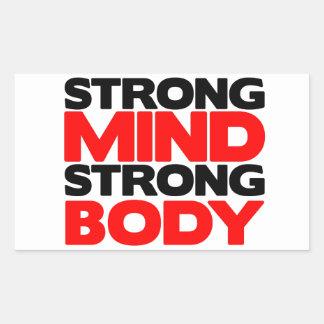 Cuerpo fuerte de la mente fuerte pegatina rectangular